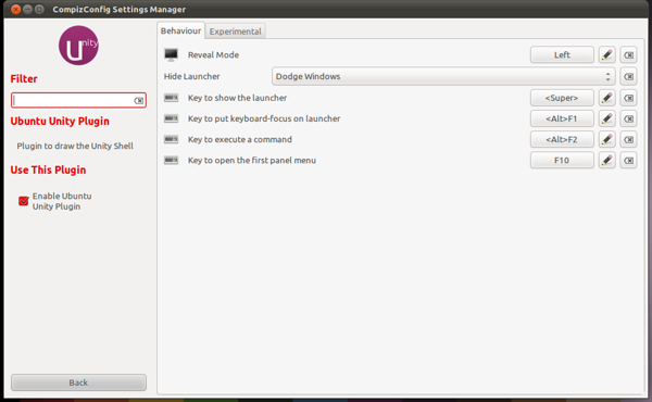 Ubuntu Unity Plugin - Behaviour
