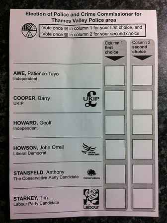 Thames Valley Police Commissioner Ballot Form